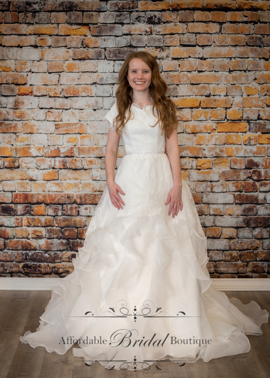 Ivory Ball Gown with Ruffled Skirt (D129 Size 2)